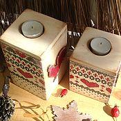 Для дома и интерьера handmade. Livemaster - original item Set of Christmas boxes candlesticks Knitted Cock and Hen. Handmade.