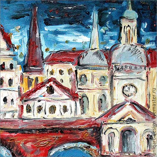 Живописный диптих «Готический город». Правая часть диптиха. Этюдная, объемная живопись.