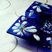 Для дома и интерьера handmade. Livemaster - original item Glass plate-glass ashtray Blue luxury.. Handmade.