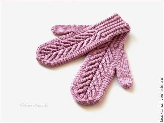 Варежки, митенки, перчатки ручной работы. Ярмарка Мастеров - ручная работа. Купить Варежки вязаные женские розовые. Handmade.