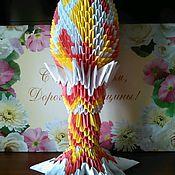 Подарки к праздникам ручной работы. Ярмарка Мастеров - ручная работа Пасхальное яйцо на подставке в технике модульного оригами. Handmade.