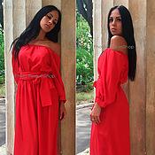 Одежда ручной работы. Ярмарка Мастеров - ручная работа Красное платье с открытыми плечами. Handmade.