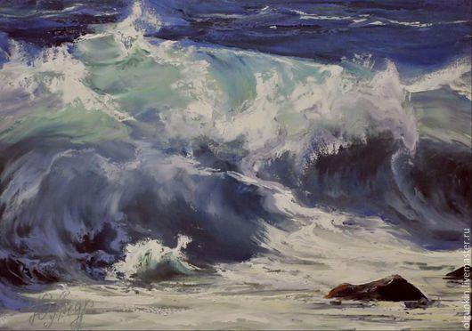 Пейзаж ручной работы. Ярмарка Мастеров - ручная работа. Купить Волна. Handmade. Синий, волна, Буря, морская стихия