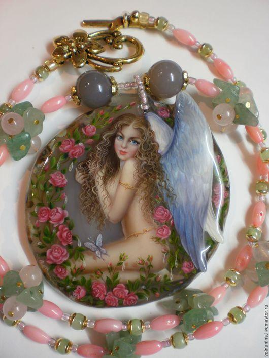 """Кулоны, подвески ручной работы. Ярмарка Мастеров - ручная работа. Купить Колье""""Ангел"""". Handmade. Розовый, кулон, украшения ручной работы"""