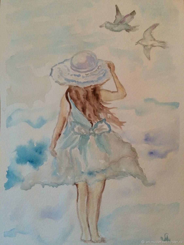ручной работы. Ярмарка Мастеров - ручная работа. Купить Зов Моря. Handmade. Море, синий, девочка, морской пейзаж