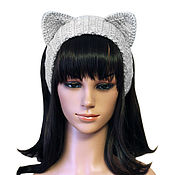 Аксессуары handmade. Livemaster - original item Headband with ears Cat, knitted headwear Grey. Handmade.