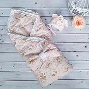 """Конверты на выписку ручной работы. Ярмарка Мастеров - ручная работа Конверт-одеяло на выписку """"Шебби-шик"""". Handmade."""