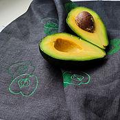 handmade. Livemaster - original item Linen towel Apples towel linen natural towel for kitchen. Handmade.