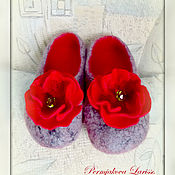 Обувь ручной работы handmade. Livemaster - original item Felted Slippers with poppies.. Handmade.