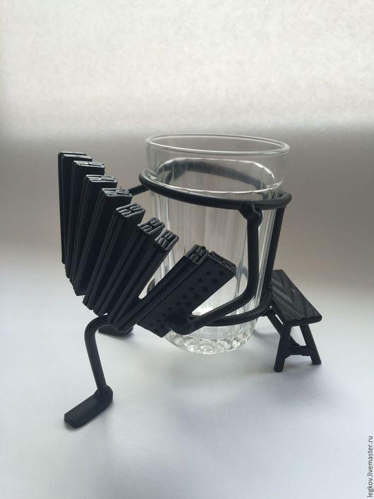 """Бокалы, стаканы ручной работы. Ярмарка Мастеров - ручная работа. Купить Подстаканник """"Баянист"""". Handmade. Черный, аккордеон, Граненый, подстаканник"""