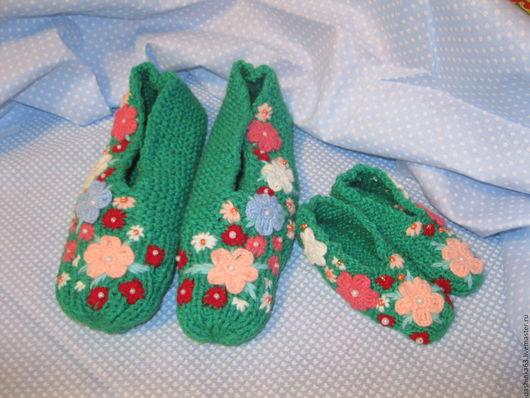 Обувь ручной работы. Ярмарка Мастеров - ручная работа. Купить следки для мамы и дочки. Handmade. Вязаные следки, вязаные носочк