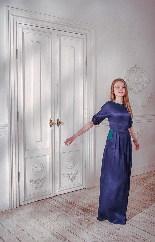 Платья ручной работы. Ярмарка Мастеров - ручная работа. Купить Ночной сапфир - шелковое платье. Handmade. Тёмно-синий