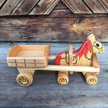 Куклы и игрушки ручной работы. Ярмарка Мастеров - ручная работа Лошадка с тележкой №12. Handmade.