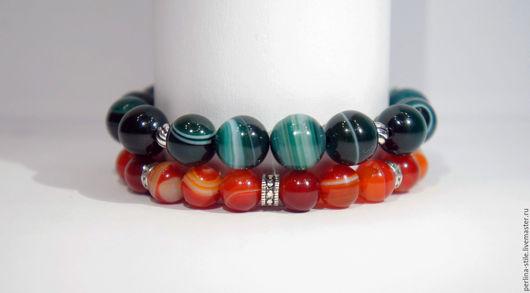 Браслеты ручной работы. Ярмарка Мастеров - ручная работа. Купить Комплект браслетов из зеленого и оранжевого агата с серебром 925 пробы. Handmade.