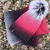 handmade. Livemaster - original item Set bullfinch (Snood in 2 turns hat with pompom). Handmade.