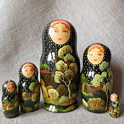Dolls1 handmade. Livemaster - original item Matryoshka five-seater. Night landscape. Handmade.
