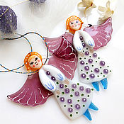 handmade. Livemaster - original item Christmas gifts: Christmas tree decoration, glass decor. Angel.. Handmade.