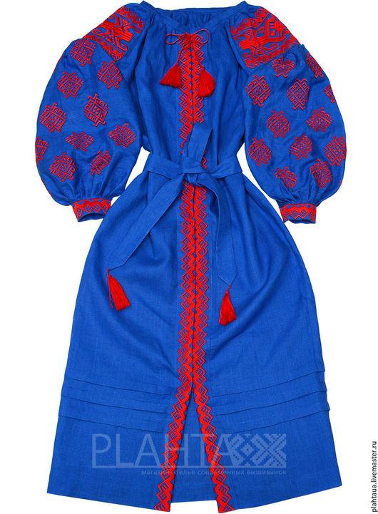 """Платья ручной работы. Ярмарка Мастеров - ручная работа. Купить Длинное платье """"Трипольское Солнце"""". Handmade. Синий, лен"""