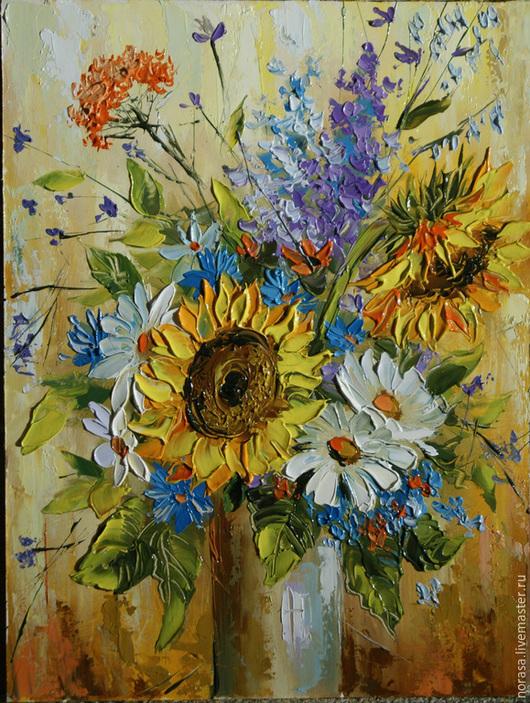 Картины цветов ручной работы. Ярмарка Мастеров - ручная работа. Купить Полевые цветы. Handmade. Разноцветный, картина, картина в подарок