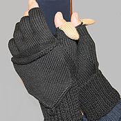 Аксессуары ручной работы. Ярмарка Мастеров - ручная работа Перчатки без пальцев вязаные шерсть черные. Handmade.