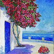 """Картины ручной работы. Ярмарка Мастеров - ручная работа """"Цветущая Греция"""" греческий пейзаж с цветами. Handmade."""