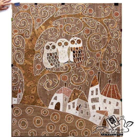 Животные ручной работы. Ярмарка Мастеров - ручная работа. Купить Интерьерное панно из пробки «Три совушки». Handmade. Коричневый, картина