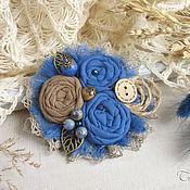 """Украшения ручной работы. Ярмарка Мастеров - ручная работа """"Летняя ночь"""" брошь бохо из ткани цветок синий серый. Handmade."""