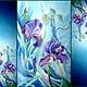 Батик шарф. Шёлковый шарф. Ирисы на синем. Крепдешин.190-50 см, Палантины, Михайловка, Фото №1