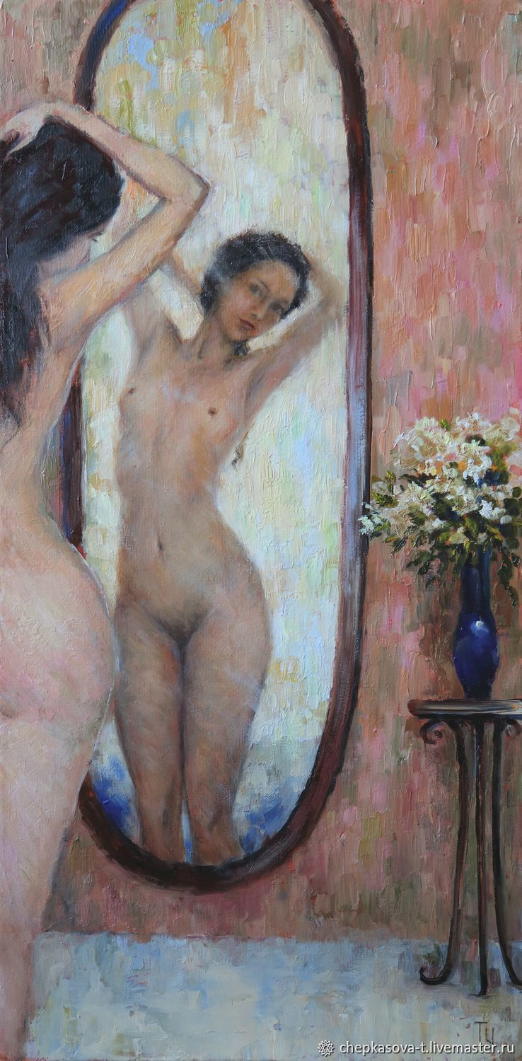 The mirror. Oil painting girl, Nude, Pictures, Moscow,  Фото №1