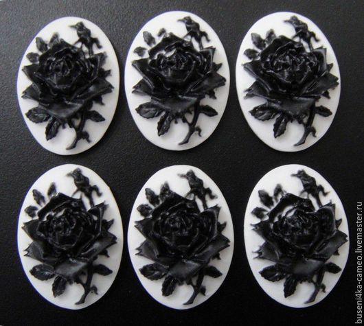 Для украшений ручной работы. Ярмарка Мастеров - ручная работа. Купить Камея Черная роза на белом №2, 13х18мм (пластик) 1шт.. Handmade.