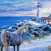 """Картины и панно ручной работы. Ярмарка Мастеров - ручная работа Картина """"Зимой на маяке"""". Handmade."""