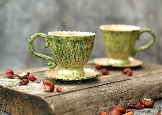 Сервизы, чайные пары ручной работы. Ярмарка Мастеров - ручная работа. Купить Чашка с блюдцем  Болотная Фея чайная пара. Handmade.