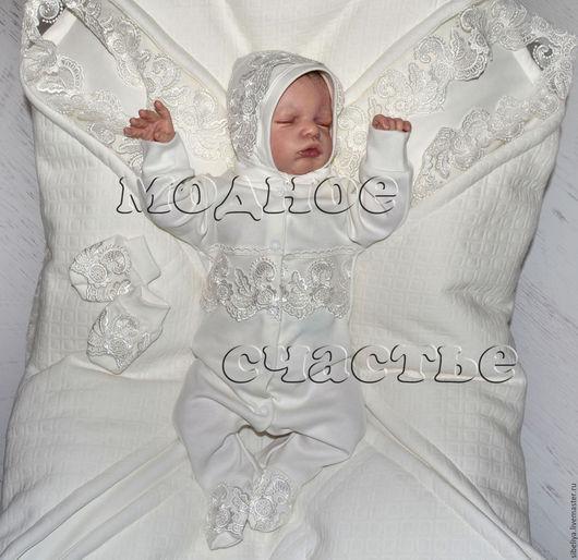 """Для новорожденных, ручной работы. Ярмарка Мастеров - ручная работа. Купить Комплект на выписку """"Версаль-2"""". Handmade. Молочный, кружево"""