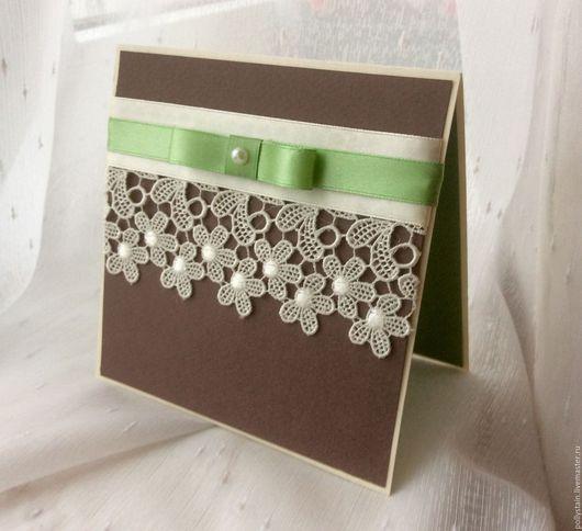 """Свадебные открытки ручной работы. Ярмарка Мастеров - ручная работа. Купить """"Флора"""" открытка большая. Handmade. Ярко-зелёный, кружево"""