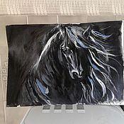 Картины и панно ручной работы. Ярмарка Мастеров - ручная работа чёрная лошадь. Handmade.