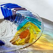"""Посуда ручной работы. Ярмарка Мастеров - ручная работа Блюдо из стекла """"Перья жар-птицы"""", фьюзинг, 30 см. Handmade."""