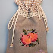 Кармашки ручной работы. Ярмарка Мастеров - ручная работа Абрикос. Льняной мешочек для сушеного абрикоса или урюка. Handmade.