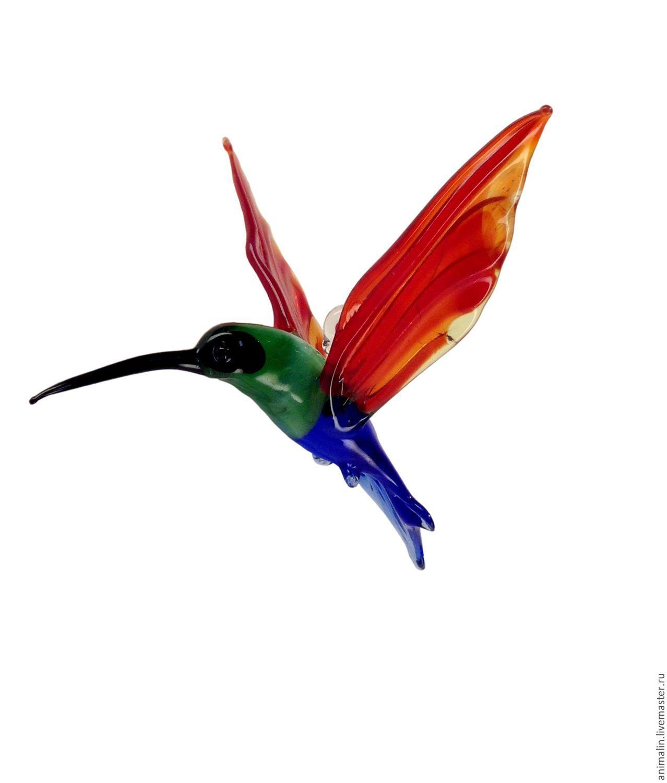 Интерьерное подвесное украшение из цветного стекла птица Колибри Sol, Подвесы для кашпо, Москва,  Фото №1