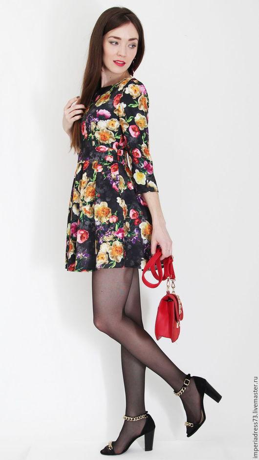 Платья ручной работы. Ярмарка Мастеров - ручная работа. Купить яркое короткое платье. Handmade. Комбинированный, шикарное платье, платье