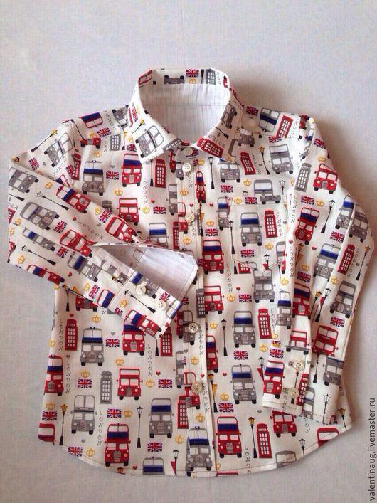 """Одежда для мальчиков, ручной работы. Ярмарка Мастеров - ручная работа. Купить Рубашка для мальчика """" Автобусы"""". Handmade. Комбинированный"""
