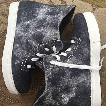 Footwear handmade. Livemaster - original item Shoes: Sneakers Stylish felted graphite 3.. Handmade.