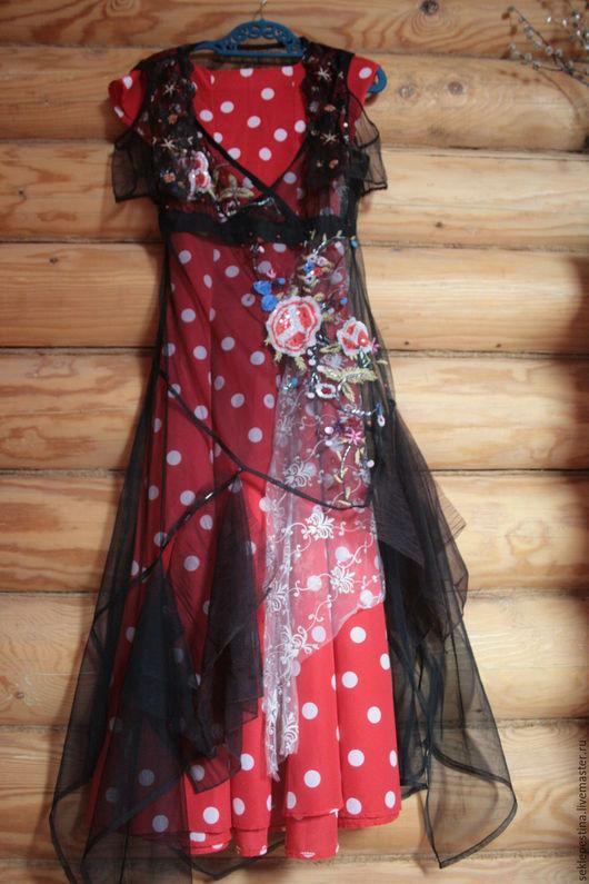 Платья ручной работы. Ярмарка Мастеров - ручная работа. Купить платье с горошками. Handmade. В горошек, красивое, ниже колена