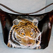 Сумка мешок кожаная- Тигр