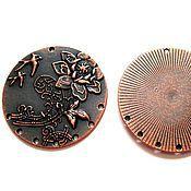 Материалы для творчества ручной работы. Ярмарка Мастеров - ручная работа Коннектор круглый с цветком 1 к 7 античная медь 48мм. Handmade.