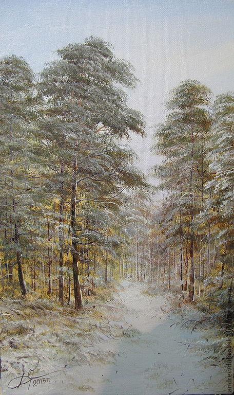 Пейзаж ручной работы. Ярмарка Мастеров - ручная работа. Купить Морозный день в лесу. Handmade. Серебряный, зима, зимний пейзаж