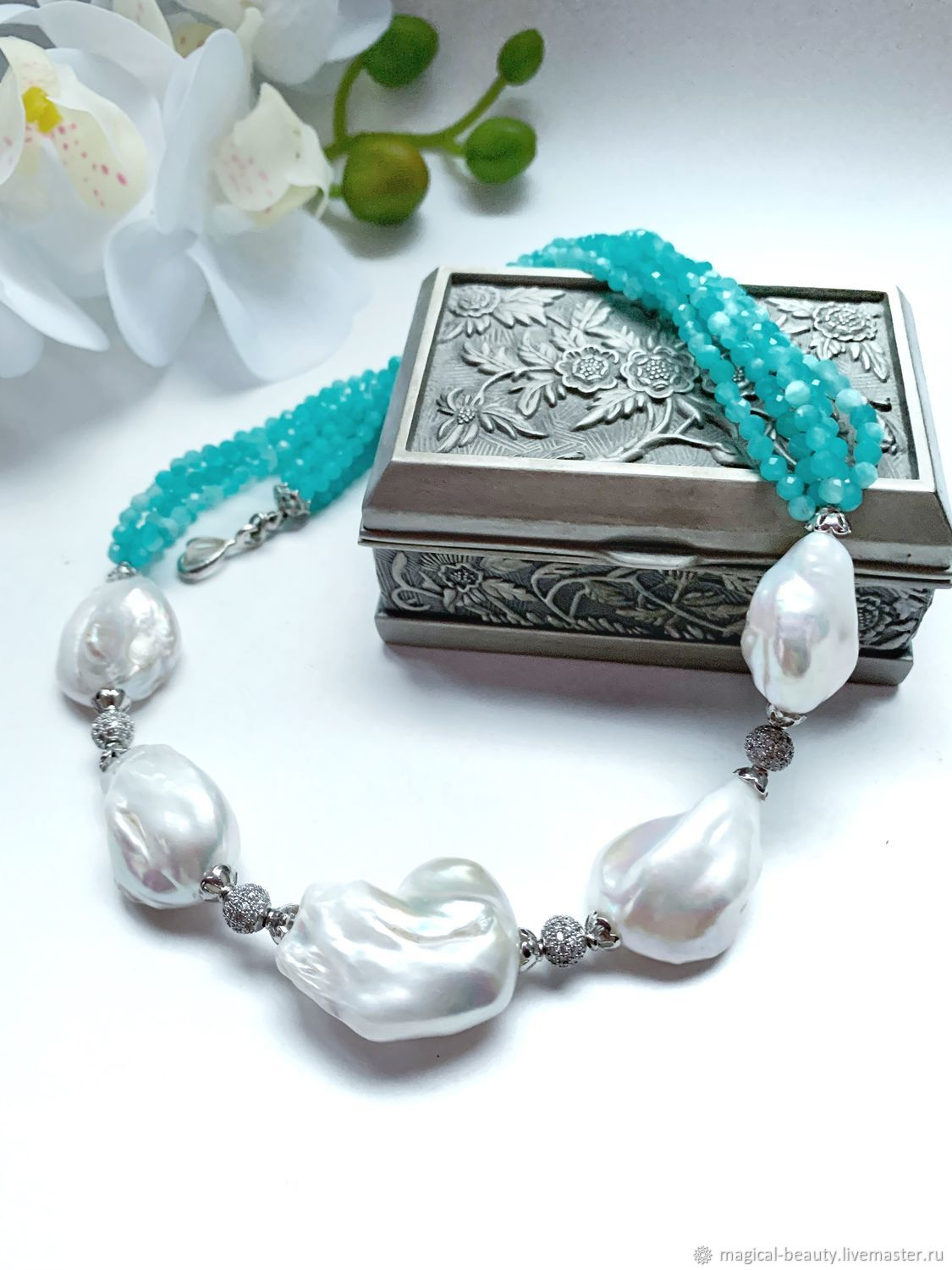 Necklace with amazonite and Baroque pearls, Necklace, Moscow,  Фото №1
