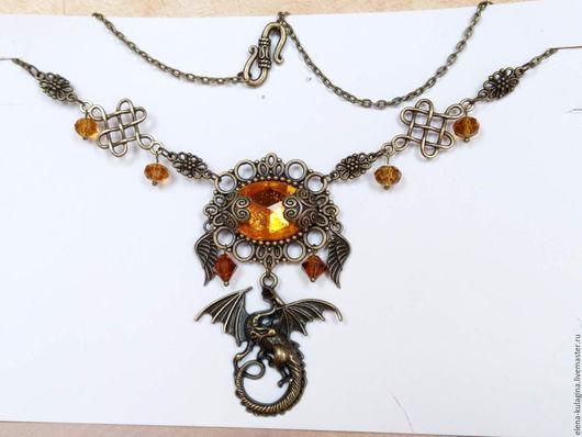 """Кулоны, подвески ручной работы. Ярмарка Мастеров - ручная работа. Купить Колье """"Глаз дракона"""". Handmade. Комбинированный, подвеска"""