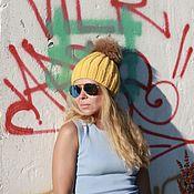 Аксессуары handmade. Livemaster - original item Woolen hat with braids yellow