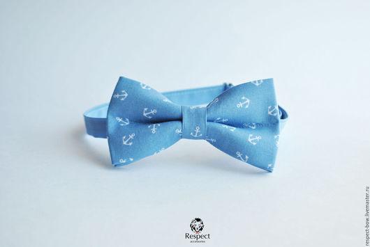 Галстуки, бабочки ручной работы. Ярмарка Мастеров - ручная работа. Купить Голубая галстук бабочка Якоря / вечеринка и свадьба в морском стиле. Handmade.