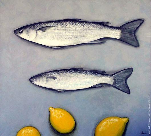 Натюрморт ручной работы. Ярмарка Мастеров - ручная работа. Купить Рыба и лимоны. Handmade. Натюрморт, композиция, дизайн интерьера